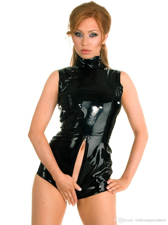 Nuovo arrivo Taglia XXL-S Nero Catsuit Short Body Zipper To Crotch Body senza maniche Sexy lucido PVC Dance Clubwear Fetish Jumpsuit