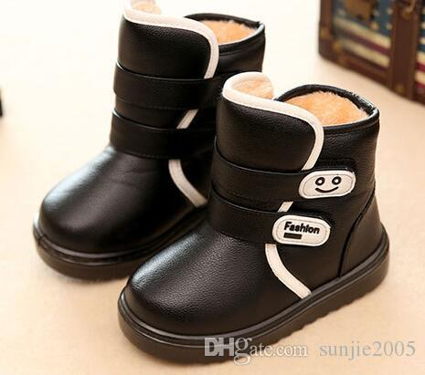 2018 new Winter Children Ankle Plush Boots For Girls Flat With Rubber Snow Boots Boys Waterproof Non-slip Shoes