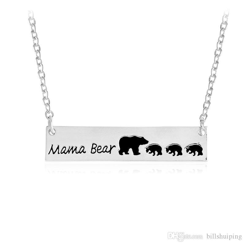 Argent Plaqué Or Bar Collier Polar Mama Bear Collier Cadeaux pour Maman Femme Cadeau De La Fête Des Mères Anniversaire Souvenir livraison gratuite