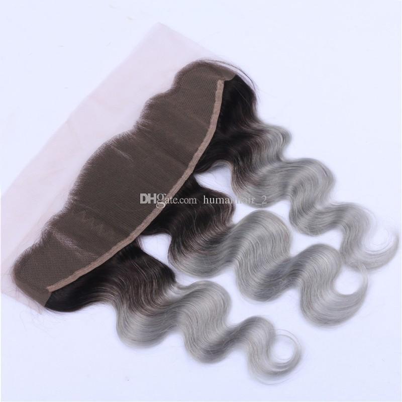 9A два тона цветной 1b серый кружева фронтальная с пучками Щепка серый 3 пучка с кружевом фронтальная закрытие 4 шт. Много перуанских девственных волос