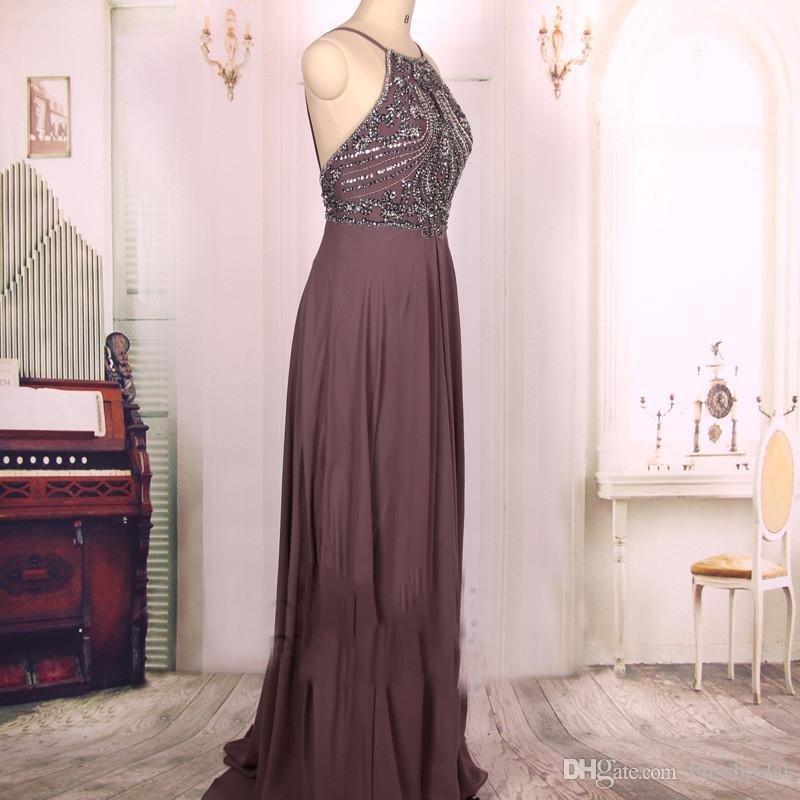 Heißer Verkauf billig eine Linie Schokolade wulstiges langes reizvolles rückenfreies Abschlussball-Kleid-Isolationsschlauch-Chiffon- Gast-Kleid-Abendkleid