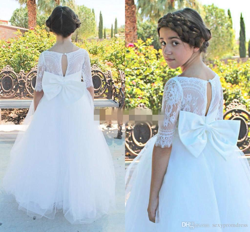 White Ball Gown Flower Girl Dresses For Wedding With Bow On Back Tulle Floor Length Girls Pageant Gowns Lace Short Sleeves Kids Dress