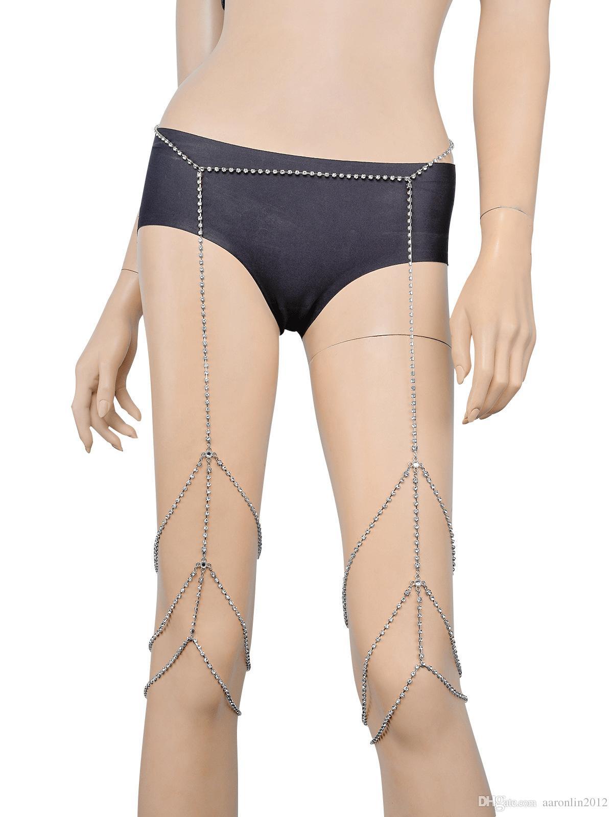 Marchio di moda Cristallo gamba Catena Corpo Gioielli Donne Sexy strass cinturino bracciali catene di pancia club notte roccia accessori catena del corpo 2017
