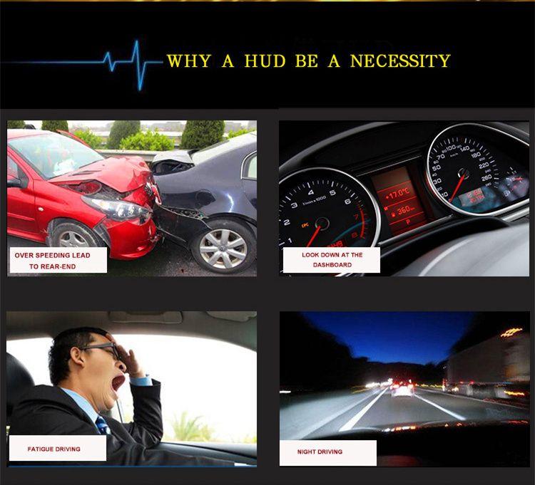 Nuovo arrivo A5 3.5 pollici GPS HUD Head up Display veicolo allarme sicurezza stistema vs OBDII auto parabrezza progetto di guida