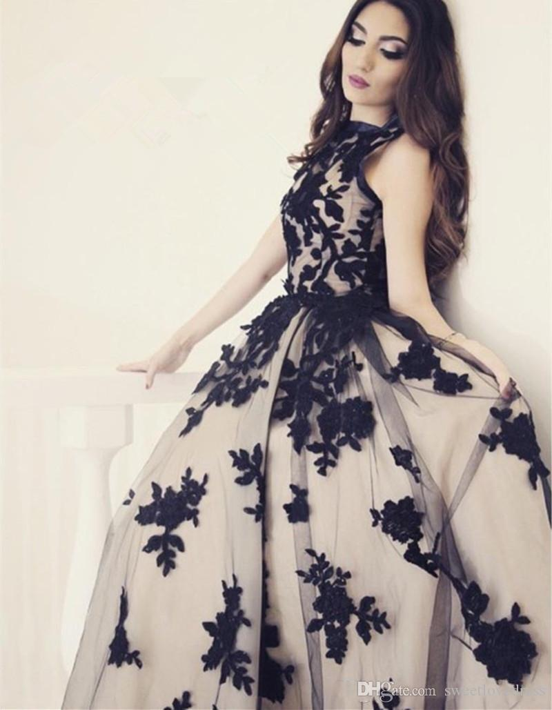 2017 hot sale elegant bateau lace applique prom dress floor length tulle illsion sleeveless ball gown formal evening dress for lady