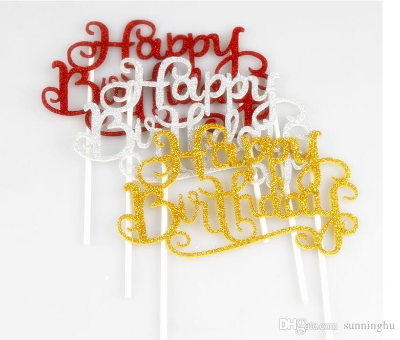 DIY Happy Birthday Flag Cake Topper Decoration Party Favors Sticker Decor Banner Card Accessory Canada 2019 From Sunninghu CAD 081