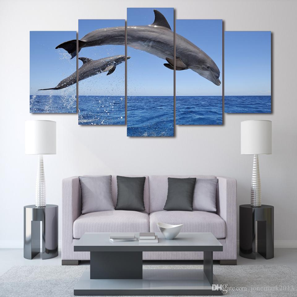 Framed HD Printed dolphin ocean seascape Group Painting room decor print poster picture canvas /ny-004