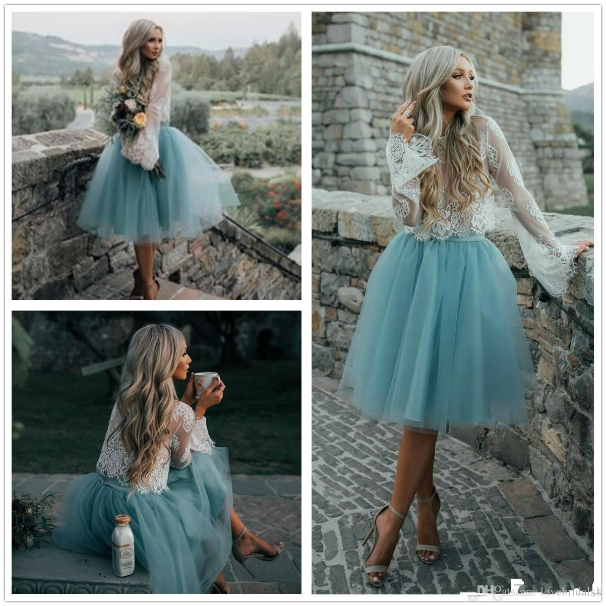 Two Piece Lace Tulle Homecoming Dress Kne Length Long Sleeves Jewel ...