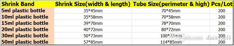 Ясно ПВХ термоусадочная пленка трубки для 10 мл 15 мл 20 мл 30 мл 50 мл E жидкость капельницы бутылки термоусадочная пленка термоусадочные уплотнения DHL бесплатно