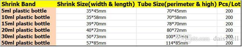 Heat PVC Shrink wrap film for 5ml 10ml 15ml 20ml 30ml 50ml e-juice e-liquid dropper Bottles clear pvc shrink sleeve seals heat shrinkable