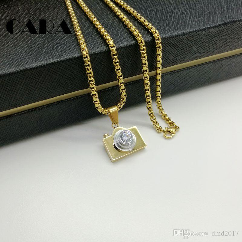 CARA 2017 New arrival 316L Stainless steel Camera necklace pendant with Cubic zirconia stone 60cm popcorn chain hip hop necklace CARA0122