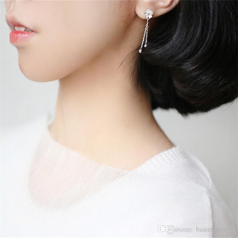 925-sterling-silver Sakura Flower Dangle Ball Stud Earrings For Women Fashion Femme Lovely Earring Sterling Silver Jewelry
