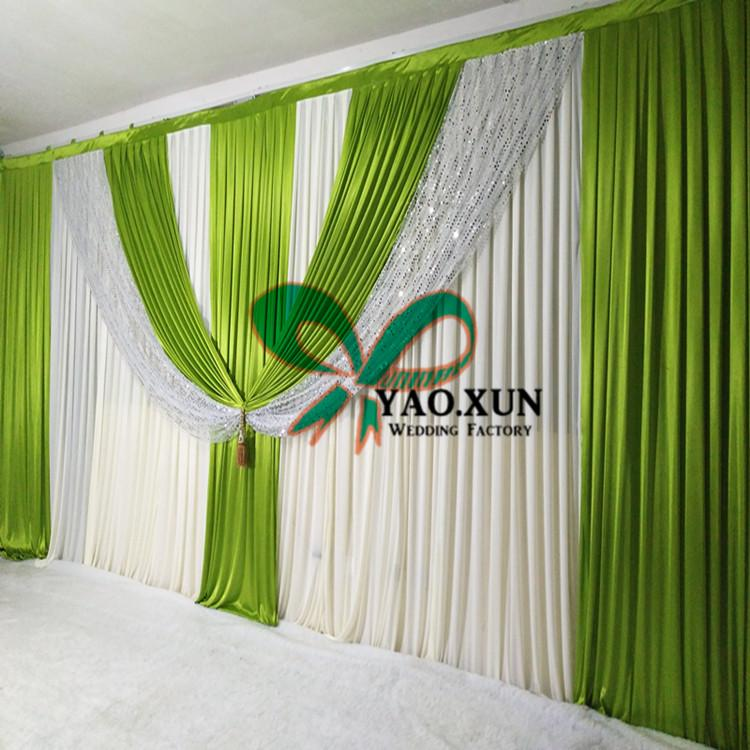 Cheap Price Wedding Backdrop Curtain With Colorful Swag Drape With Pipe Stent \ Stand