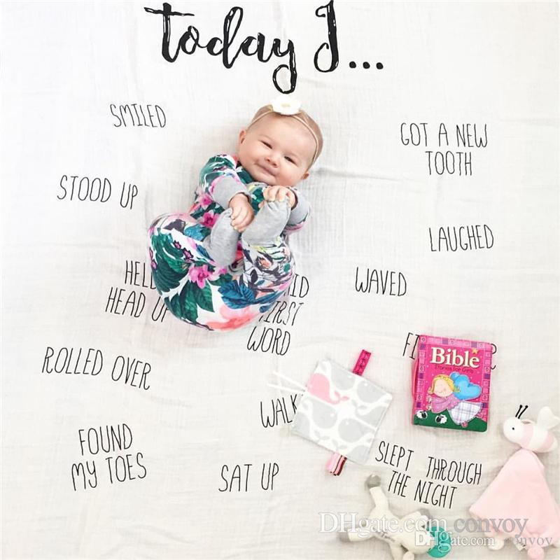 New Baby photography background blanket photo prop Baby backdrops infant Cotton Swaddling wrap soft Number print cloth mat BHB27