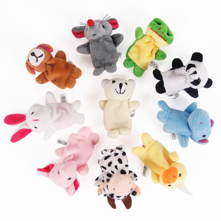 free Baby Plush Toy Finger Puppets fashion Stuffed Animals plus animals creative Talking Props 10 animal group best quality gift