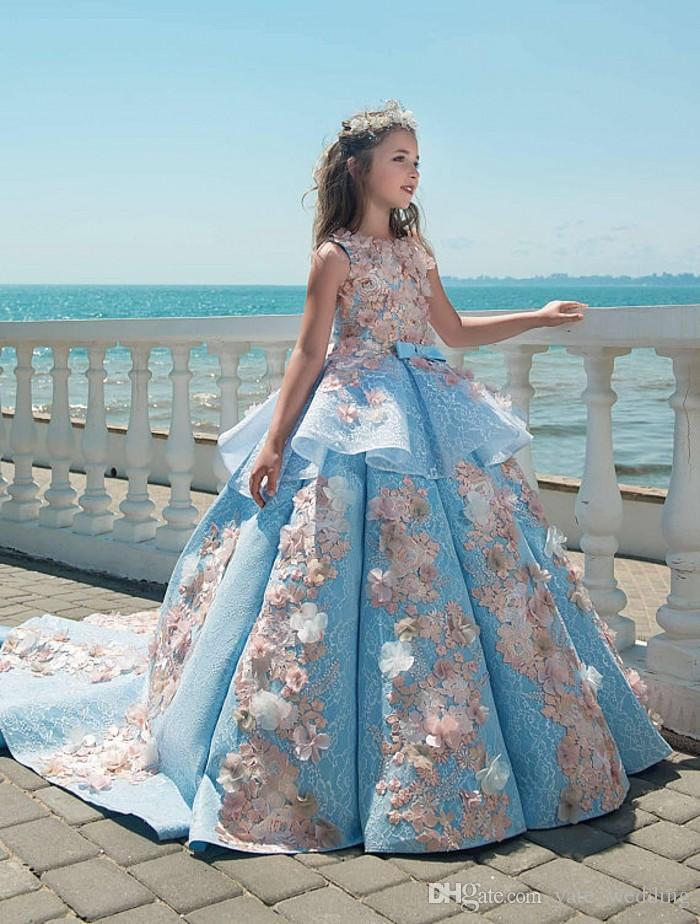 2018 Bleu Dentelle Filles Pageant Robes Robe De Bal Enfants D'anniversaire De Vacances De Mariage Robes De Fête De Mariage Princesse Adolescente Enfant Robes Balayage Train