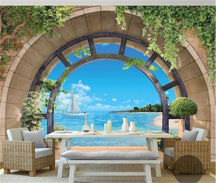 3D Wall Painting 3d wallpaper custom mural non woven photo 3d balcony landscape