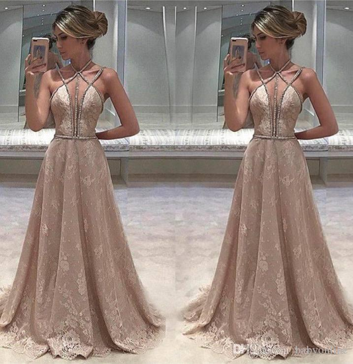 2017 Sexy South Africa Sleeveless Lace Long Evening Dresses Beaded Straps Open Back Prom Gowns Chic Robe De Soriee Perth Formal
