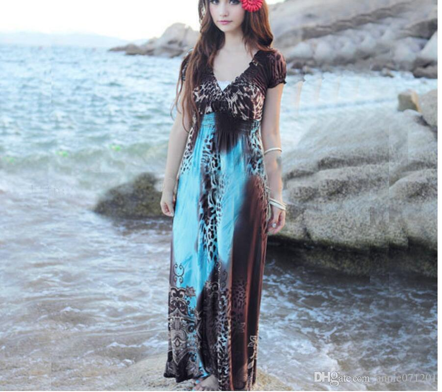Beach Wedding Guest Dress Women Clothing Floral Printed Bohemian Summer Elegant Ladies Holiday Ankle Length Long Cocktail Dresses