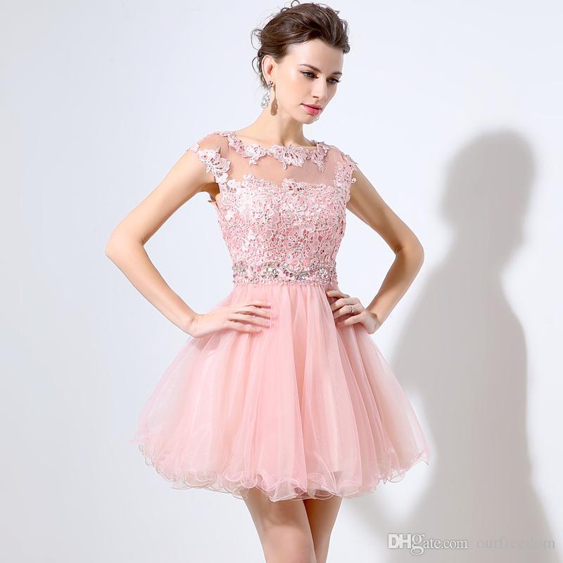 Söt Rosa Kort Prom Klänningar Billiga A-Line Mini Tulle Lace Beads Cap Sleeves Bateau Neck 2019 Junior 8th Grade Homecoming Dress Party Dresse