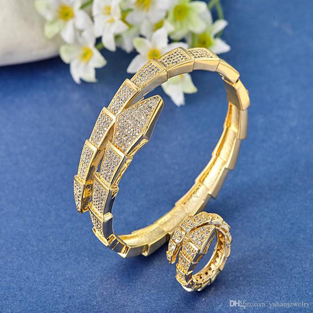 Great Quality Gold Plated Zircon Bangles Rings For Women Bridal ...