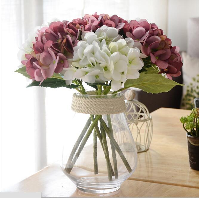 New Design Artificial Hydrangea Flower Head 34cm Fake Silk Single Real Touch for Wedding Centerpieces Home Party Flowers