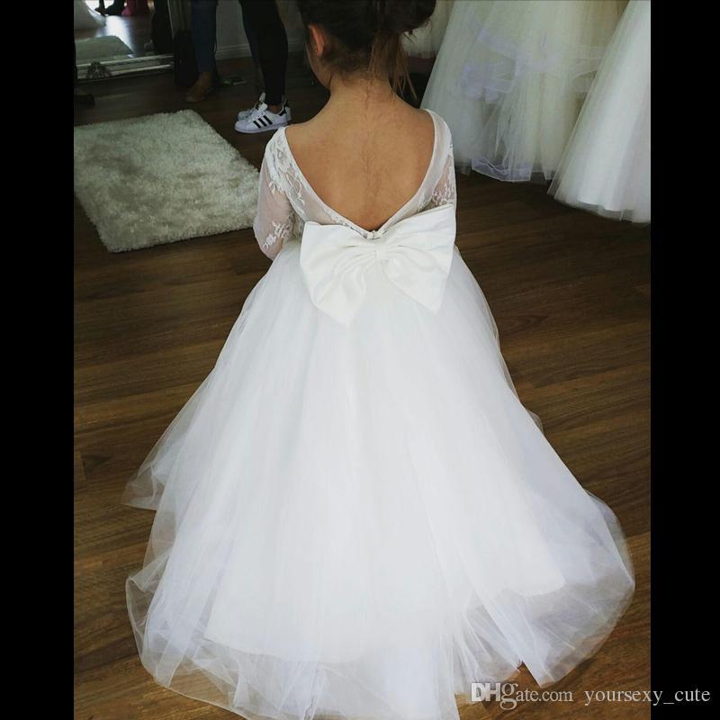 b9ff1abb22c Cute White Ball Gown Flower Girls Dresses For Wedings Bateau Lace Tulle  Floor Length Backless Toddler Infaint Children Kids Wedding Dresses Flower  Girl ...