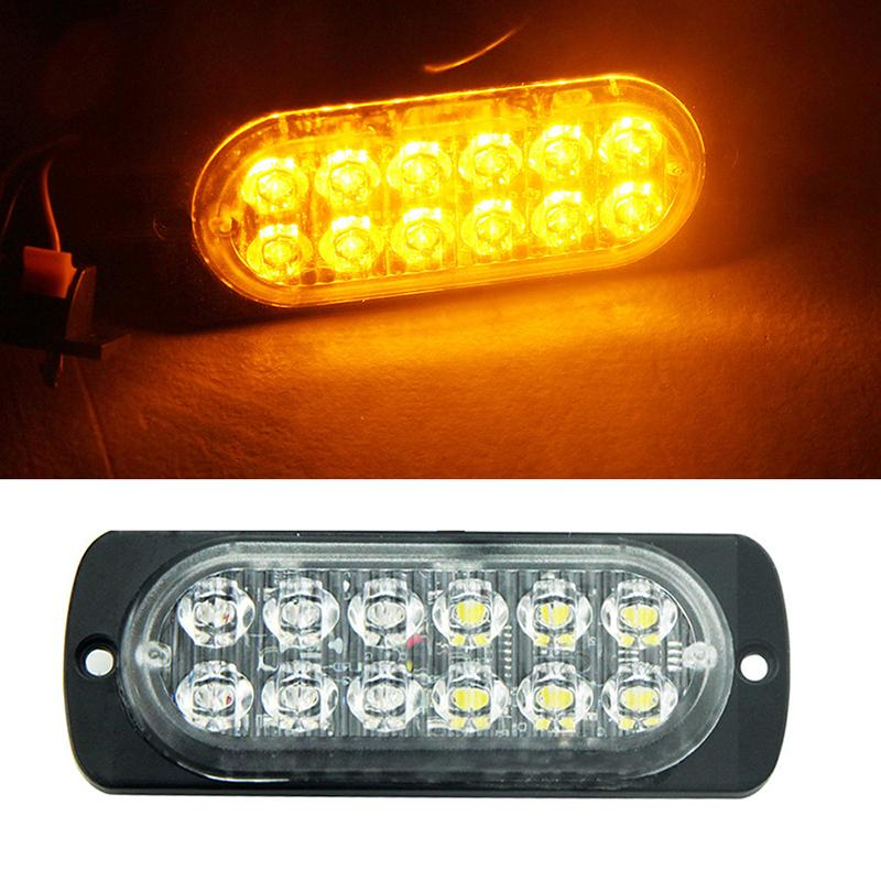 12led danger 12W suv truck with led chips dc 12-24V yellow car vehicle lights Width warning lamp engineering vehicle Ultra-thin Car police ligh Truck Emergency Warning light Flash Strobe Light Bar car-styling (1)
