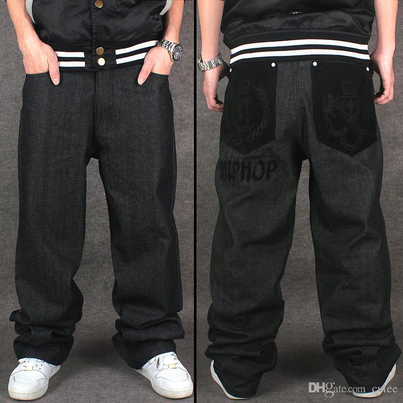 Wholesale-Loose hip hop jeans men printed jeans Mens dress big yards tide straight trousers hip-hop HIPHOP hip-hop clothing flocking
