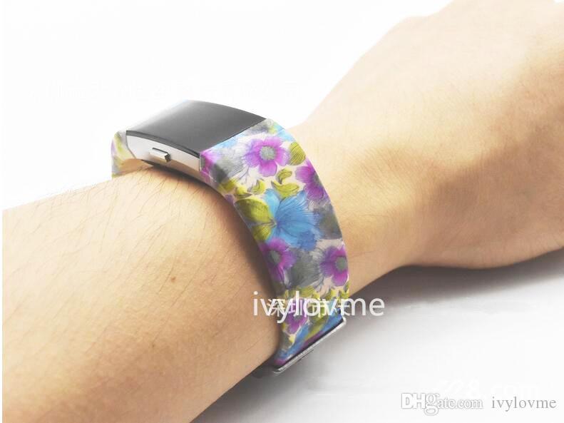 실리콘 스트랩 Fitbit Charge 2 Band, Tracker가없는 Fitbit Charge 2 용 대체 고무 밴드, 인쇄 된 패턴