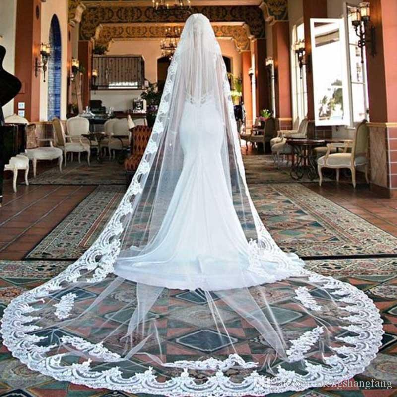 Romantic 3 Meters One Layer Lace Edge Long Cathedral Wedding Veils White Ivory Bridal Veil