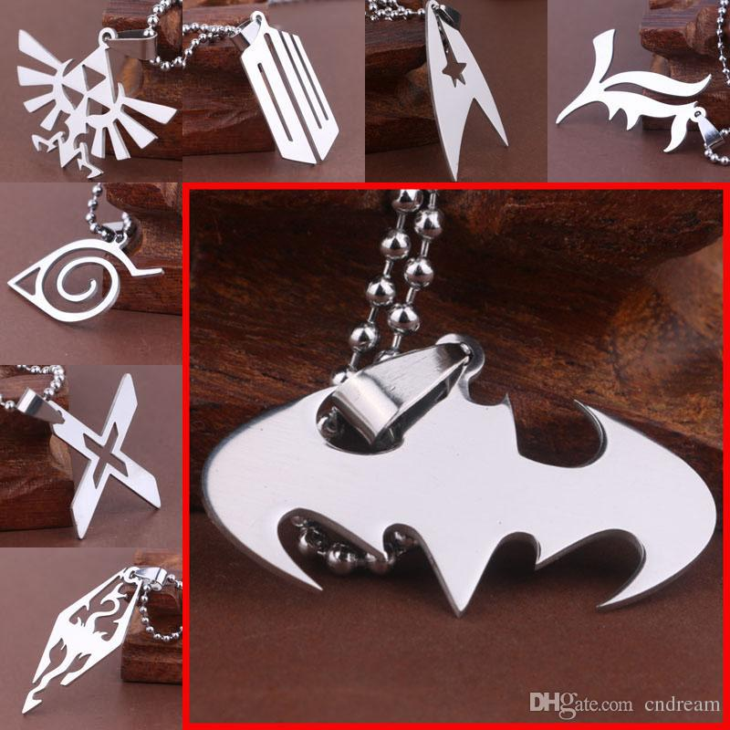 Titanium Necklace Star Trek Zelda Batman Spiderman Wonder Woman Superman Skyrim Naruto The Flash Resident Pendants for womem Drop Shipping