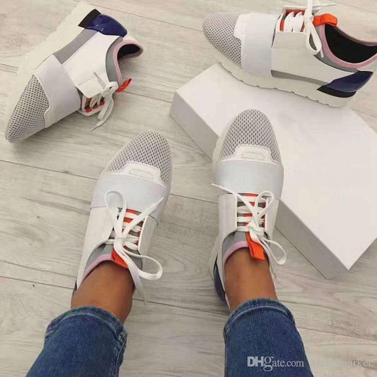 2020 Shoes Race sneaker chaussure femme Drop Shipping Fashion Designer Woman Shoes Man Casual Sneaker New Leather Mesh Trainer US 5-12