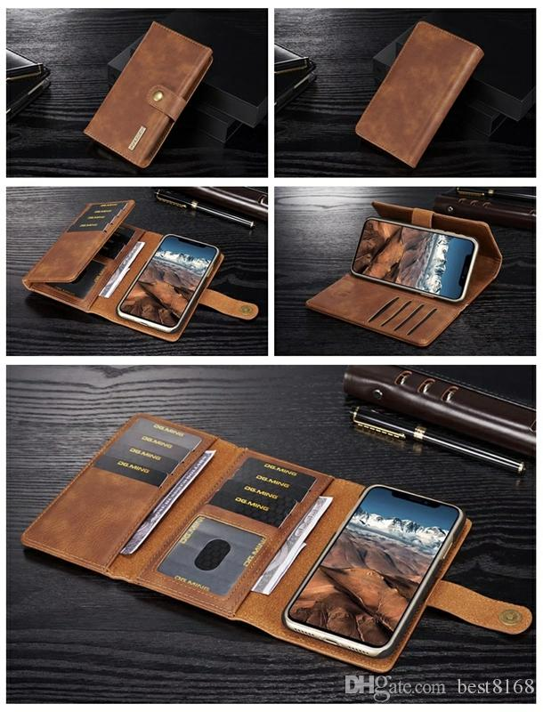 f7de36722 3 Fold 2in1 Leather Wallet Magnetic Removable Detachable Hard Case Flip  Cover For Iphone XR XS MAX X 8 7 6 Galaxy S9 Note 9 8 S8 Card Slot  Personalized Cell ...