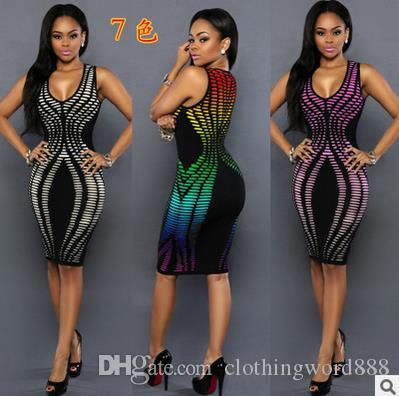 Summer Women Pacchetto hip Dress Robe Sexy Club Party Dresses Sundress Sleeveless Ladies Bodycon Bandage midi Dress Vestido
