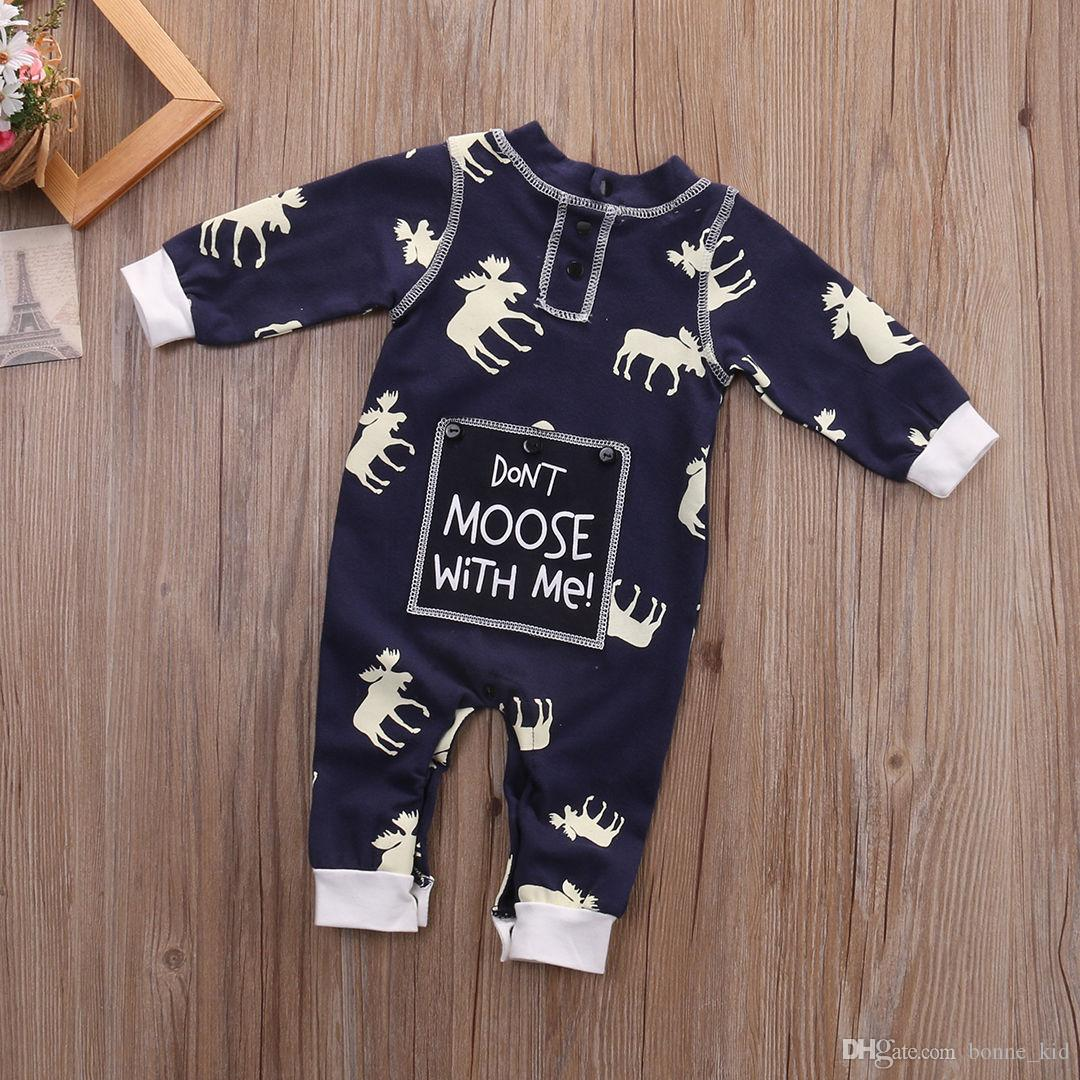 Kid Jumpsuit Reindeer Pajamas Navy Winter clothes Christmas Gift Baby Boy Girl Cute Long Sleeve Moose Romper Cotton Bodysuit 0-18M Outfit