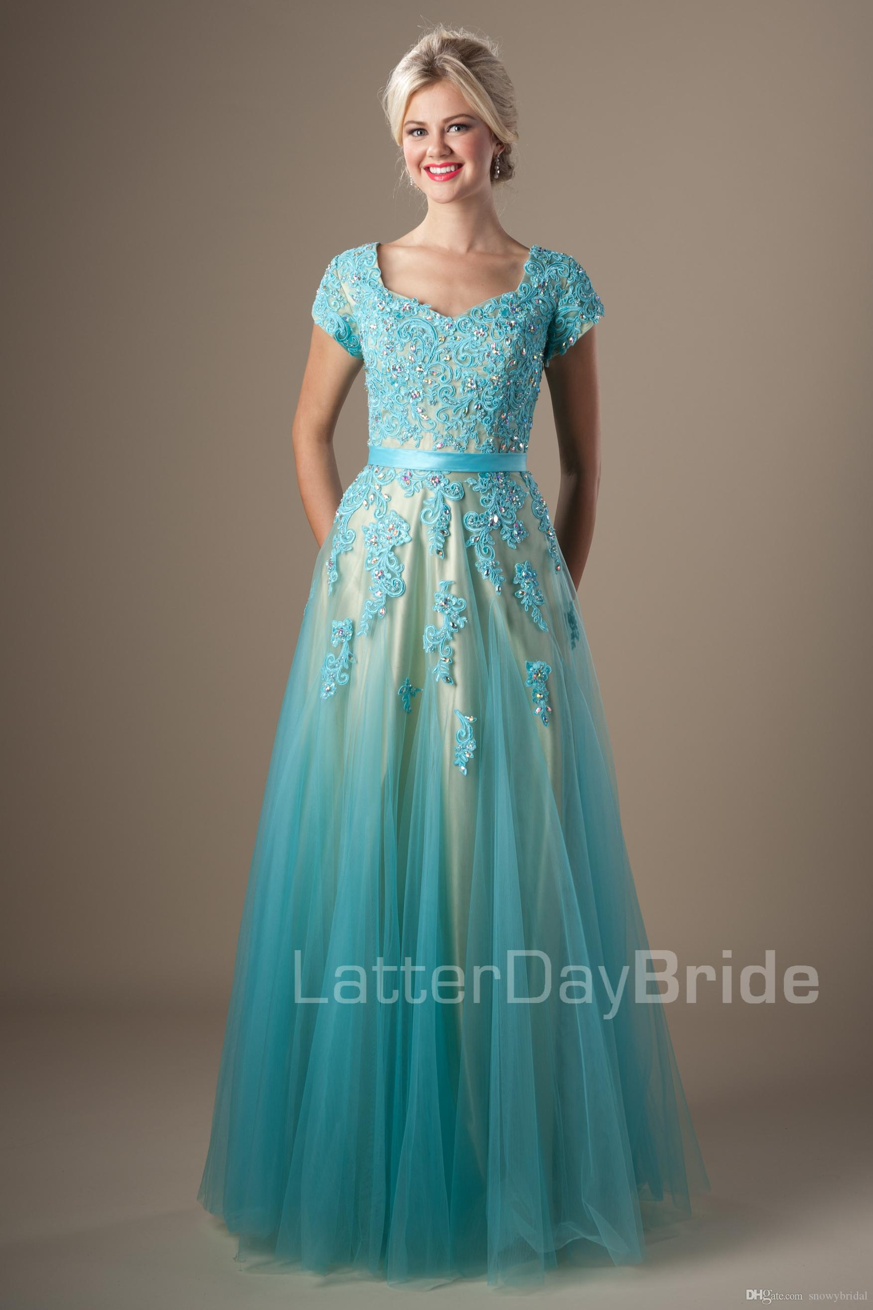 Beaded Mint Lace Tulle Long Modest Prom Dresses With Cap Sleeves ...