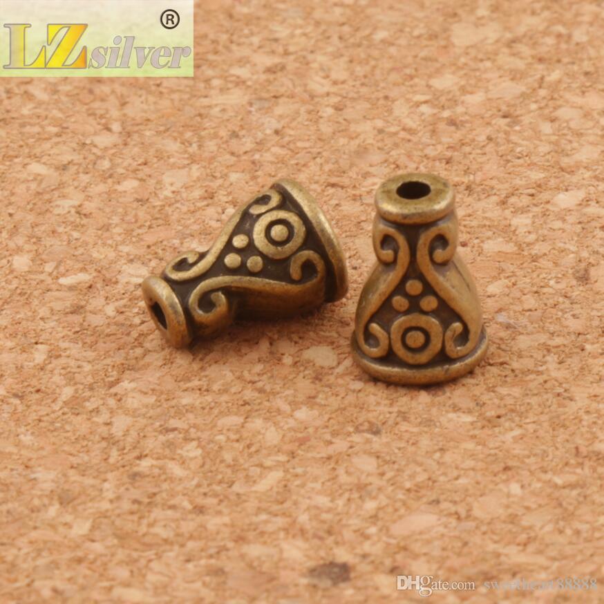 Blumenpunkte Kegelkappen Perlenkappe / 7.4x7.4mm Antike Silber / Bronze Schmuck Fundungen Komponenten L1083