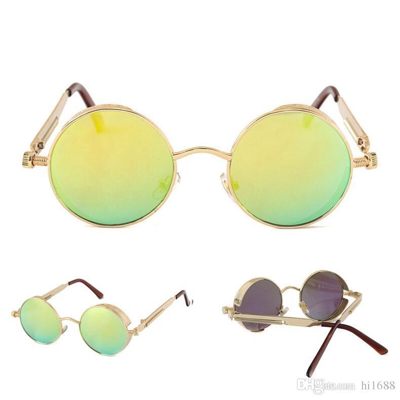 Alta Qualidade UV400 Gothic Steampunk Mens Óculos De Sol De Revestimento Espelhado Óculos De Sol Redondo Círculo óculos de Sol Retro Vintage Gafas Masculino Sol
