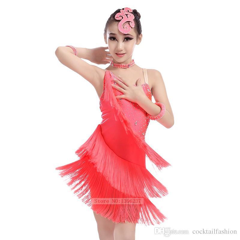 b39410229a08 Children's Latin Dance Skirt Purple Latin Tassel Dancing Wear Rumba ...