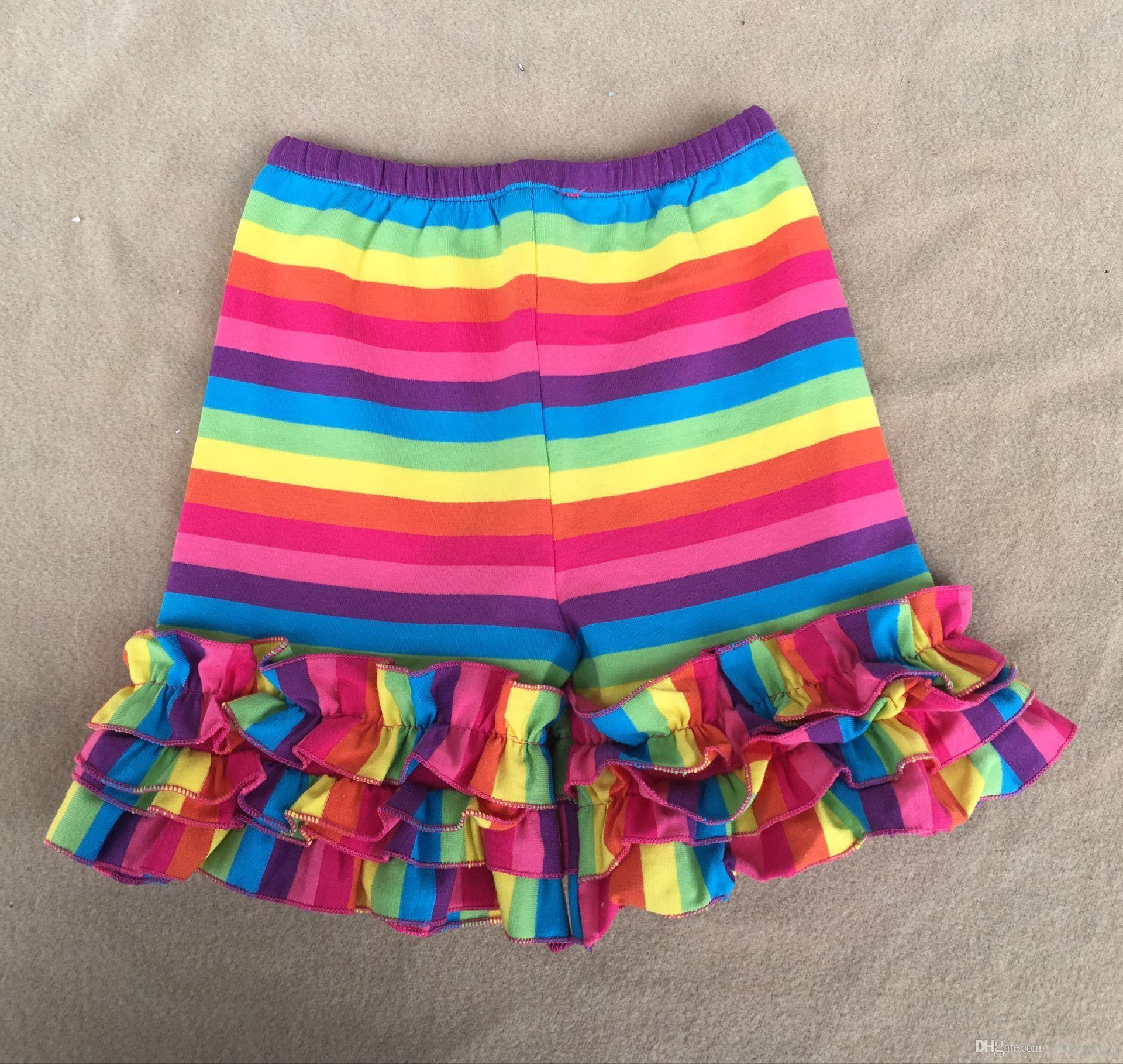 Cotton Children Shorts Wholesale Rainbow Ruffle Pants Kids Clothes