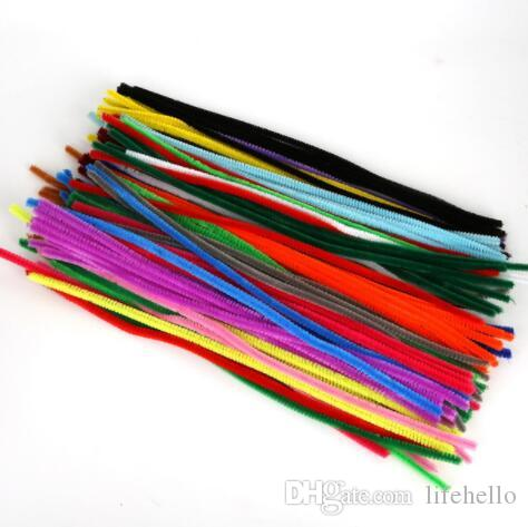 100pcs 30cm 5mm Chenille Stems Pipe Cleaners Children Kids Plush Educational Toy Crafts Colorful Pipe Cleaner Toys Handmade