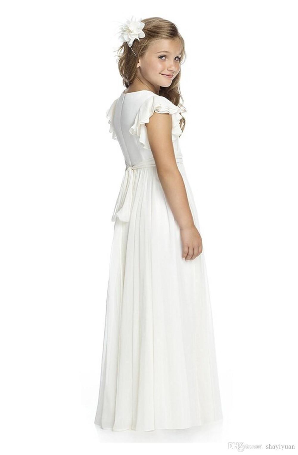 Großhandel Elegante Einfache Chiffon Weiße Erste Kommunion Kleider ...