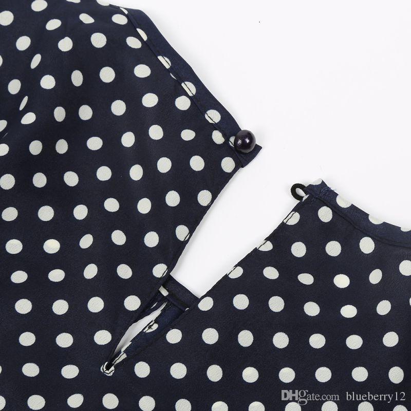 Manga larga hendidura abierta blusa de las mujeres de la gasa hueco camisa atractiva del tamaño extra grande Casual Tops Blusas Blusa de lunares top de la camisa