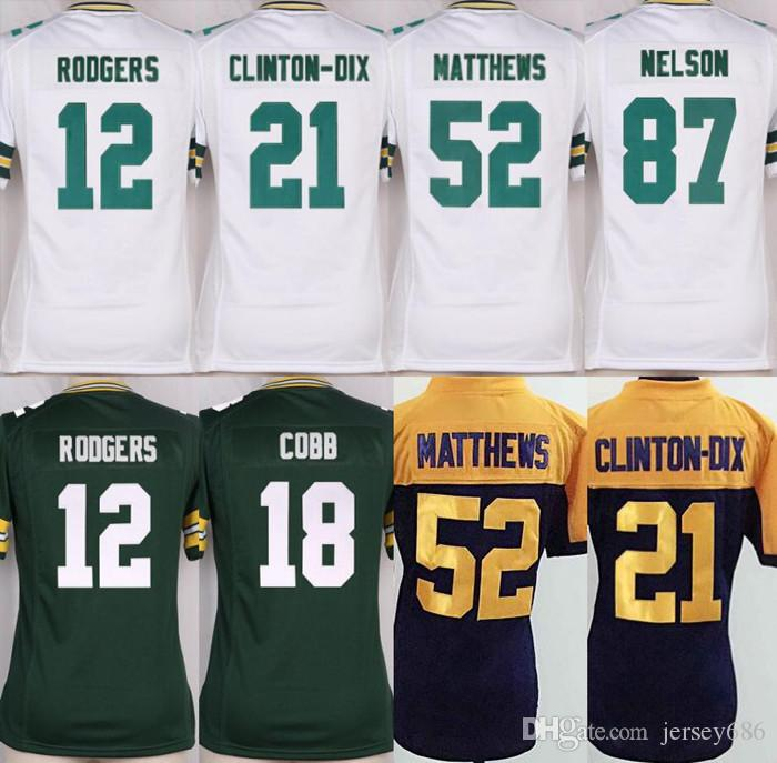 ... jersey 2017 Womens Top Quality Jersey12 Aaron Rodgers87 Jordy Nelson21  Clinton Dix52 Clay Matthews 18 Cobb 100 Mens Nike NFL Green Bay Packers 52  ... 89f391142