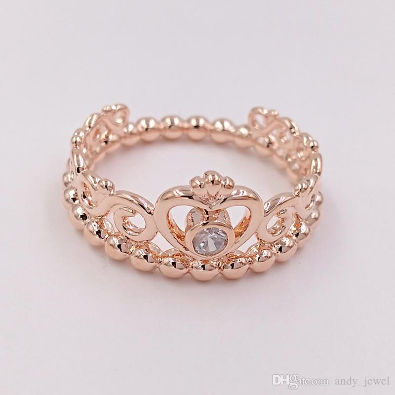 Placcato oro rosa 925 sterling sterling anello My Princess Tiara Tiara Europeo Pandora Style Jewelry Charm Crown Ring Regalo 180880CZ