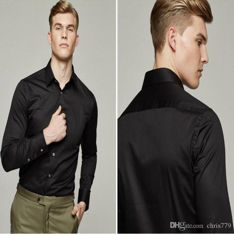 Men shirt tailor made white groom dress shirt solid color stylish business formal occasions shirt long sleeve shirt