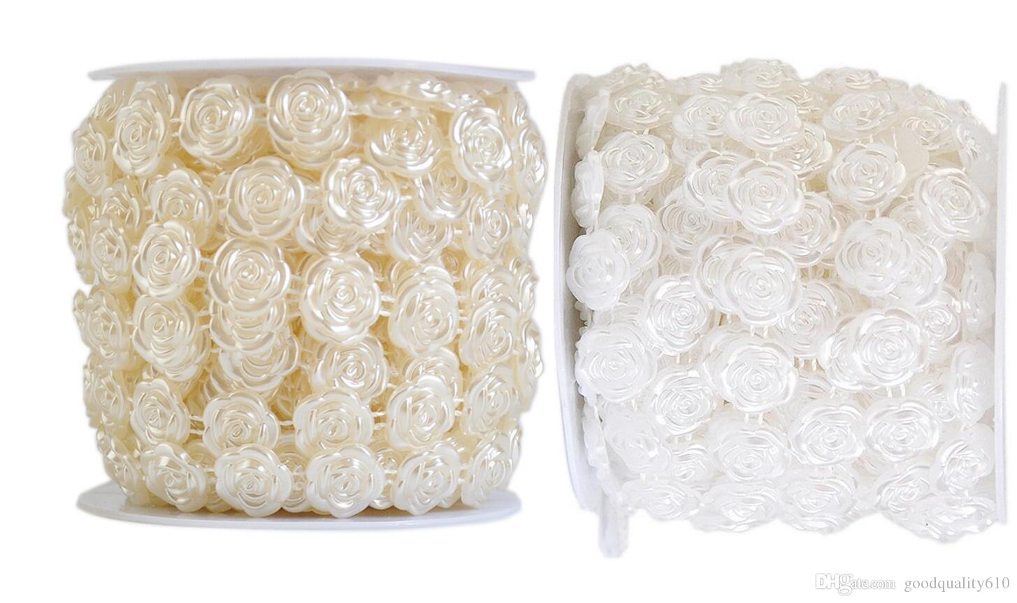 1 Spool Rose FLower Shape ABS Pearl Garland Cake Banding Trim Ribbon For Sewing Wedding Party Centerpiece Decoration