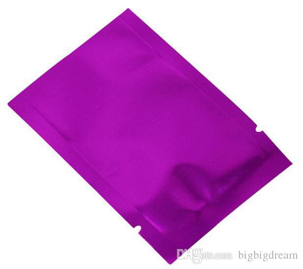 200 Pz / lotto Open Top Viola Vuoto Sacchetto di Mylar Sigillo di Calore Foglio di Alluminio Conservazione degli alimenti Sacchetto di Imballaggio Caffè Zucchero Imballaggio di Plastica