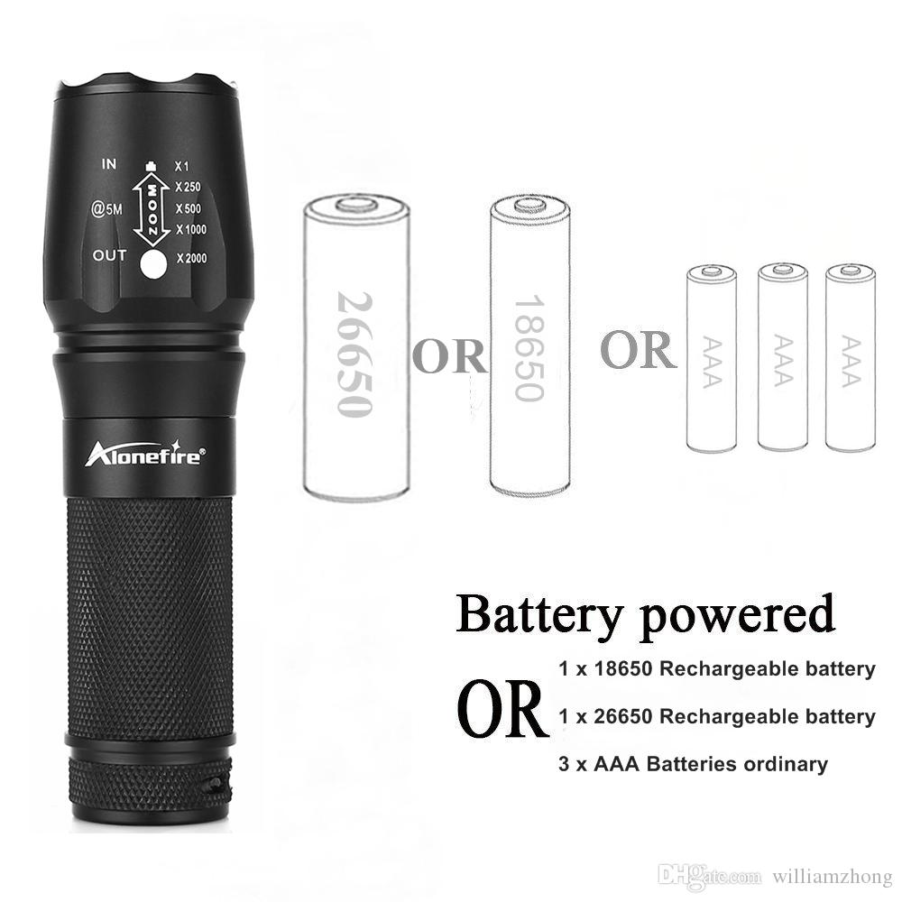 EUA UE Hot Sel E26 anodizado duro CREE XM-L T6 2000 Lumens 5-ModeTorch T6 + 6800 mAh 26650 carregador de Bateria CREE LEVOU Lanterna